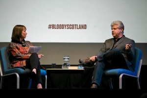 Jenny Brown interviewing Linwood Barclay (c) Eoin Carey